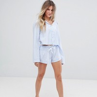 Hey Peachy Blue Stripe Cropped Short Pajamas at asos.com