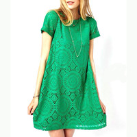Woman's Casual Summer Dress Short Sleeve O-Neck Plus Size Lace Dress