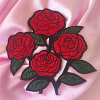 "Large Roses Chenille 7.5"" Iron On Patch"