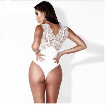 Black White Sleeveless Lace Bodysuit Tops Women Sexy See Through Bodysuit Floral Bodycon Body Suit Leotard Top Outfit