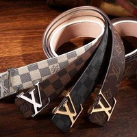 Louis Vuitton LV Women Fashion Smooth Buckle Belt Leather Belt