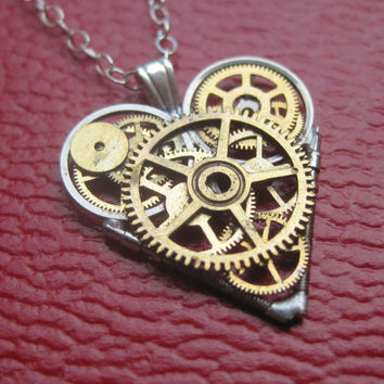 "Watch Parts Heart Necklace ""Complexus"" Clockwork Steampunk Industrial Heart Pendant Sculpture Gershenson-Gates Mechanical Mind Gift Idea"