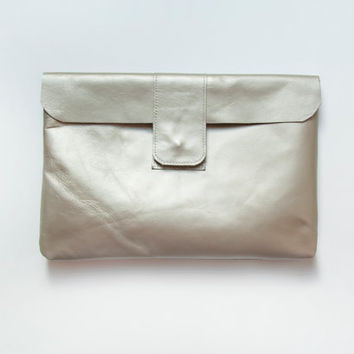 ready to ship. HELEN Notebook Clutch in White Gold. Gold Leather Clutch Tablet Case.