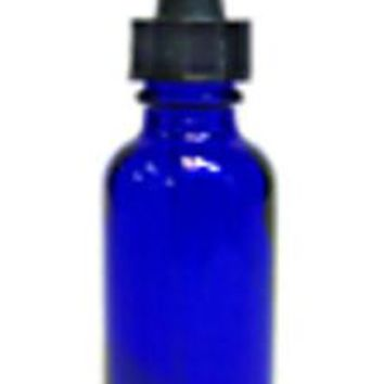 The Oily Essentials 50ml Boston Round Glass Bottle in Cobalt Blue w/Glass Dropper