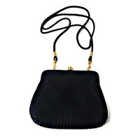 Black Pleated Sateen Evening Purse Long Strap Convertible to Clutch Bag