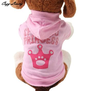 1 PC Cheap Pet Clothes For Dogs XS S M L Pink Pet Dog Clothes Crown Pattern Puppy Clothing Coat Hooded Cotton T Shirt D19
