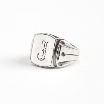 Vintage Sterling Silver Art Deco J Signet Ring - 1930s Size 10 Monogrammed Initial Engraved Letter Men's Jewelry