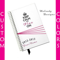 Keep Calm Daily Planner Agenda 2012 2013 Personalized Notebook