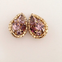 Exquisite Weiss Pink & Lavender Rhinestone Earrings - gold snake edge - teardrop rhinestones - clip on - wedding - pale purple - crystal