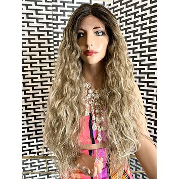 "CATHERINE lace front wig 24"" long ash blond balayage hair"