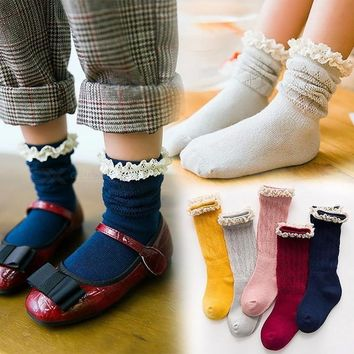 Baby Girls Socks Knee High With Bows Princess Socks Cute Baby Socks Long Tube 5 Pairs For 2-11 Years Old Blue