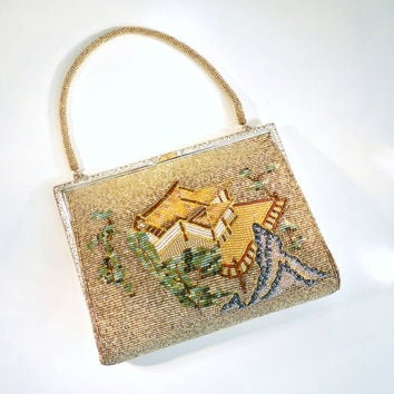 Vintage Beaded Handbag. Evening Bag. Asian Theme Beaded Purse. Silver. Gold. Tan. Brown. Blue. Green.