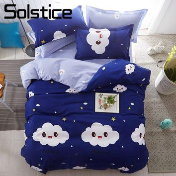 Solstice Home Textile Bedlinens Kids Teenage Boy Girls Bedding Sets Cloud Blue Duvet Cover Pillowcase Flat Bed Sheets Queen King
