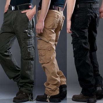 Winter Thicken With Pocket Zippers Outdoors Casual Cotton Pants [6581611335]