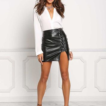 Black Leatherette Side Lace Up Mini Skirt