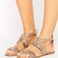River Island Rhinestone Encrusted Sandals