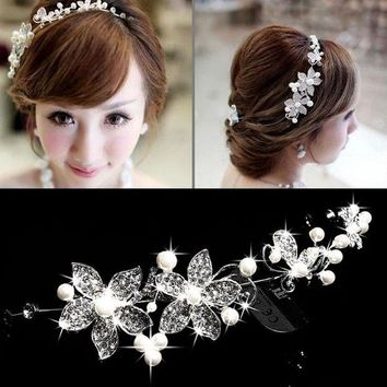 DCCKFV3 Hot Sell Luxury Silver Rhinestone Pearl Bridal Wedding Flower Headband Wedding Tiara Hair Jewelry Hair Clip Comb Women Jewelry