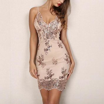 """""""Execute"""" gold sequins detail bodycon dress"""