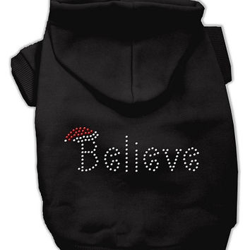 Believe Christmas Hoodie for Dogs Black/Medium