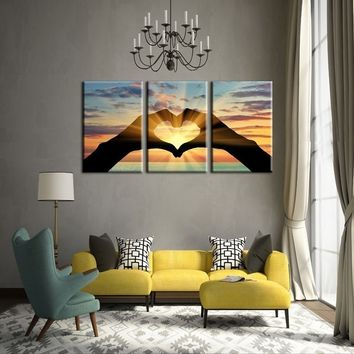 No Framed Ocean Hearts 3 Pcs Paintings on Canvas Artwork Oil Painting Prints Home Decor Wall Art Landscape Pictures for Living R