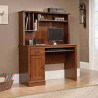 Traditional Computer Desk With Hutch Home Office Furniture Planked-Cherry Finish