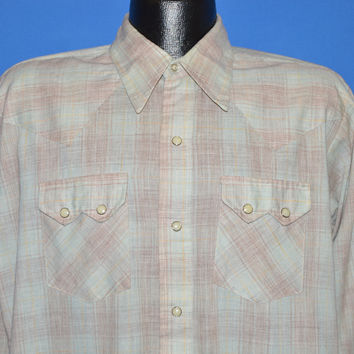 70s Dee Cee Pastel Plaid Western Pearl Snap Shirt Large