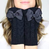 fingerless mittens fingerless knit gloves with bow by gertiebaxter
