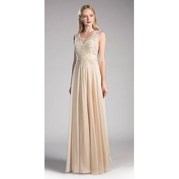 Cinderella Divine 2635 - Jewel Embellished Sheer Back Chiffon Prom Dress Champagne