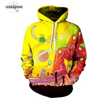 02e06da1d UIDEAZONE 2017 New arrive Rick and Morty Alien 3D Printed Hoodie