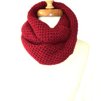 Circle Scarf ,Handmade Scarf ,Knitting Scarf ,Women Scarf, Winter Scarf, Burgundy Scarf