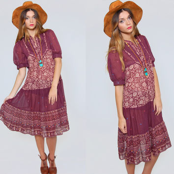 Vintage 90s PRAIRIE Dress MAROON Floral Print Boho Tent  Dress Hippie Dress Festival Revival Dress O/S