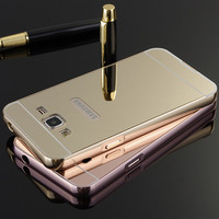 Luxury Gold Mirror Aluminum Case for Samsung Galaxy J1 J3 J5 J7 A3 A5 A7 2016 A510f A310f Ace Mini Metal Frame PC Back Cover