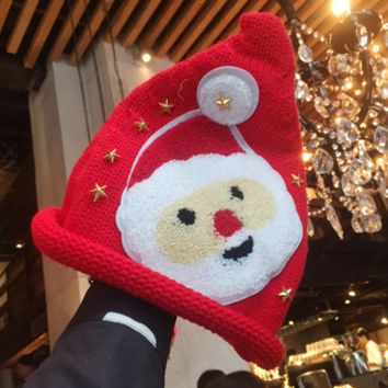 Santa Claus Hat Thickened Cute Christmas Knit Hat Winter Accessories
