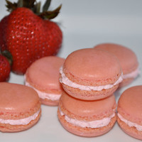 12 Almond French Macarons Strawberry Buttercream ,sweet and delicious