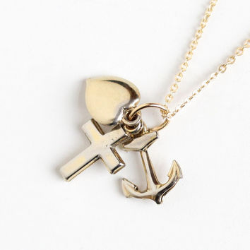 Vintage Anchor Heart Cross Charms Pendant Necklace - Circa 1940 Sterling Gold Wash Faith Hope Charity Nautical Religious Symbolism Jewelry