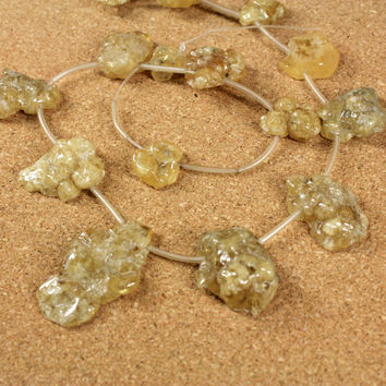 Yellow Citrine Nodule Beads - Irregular Shiny Graduated Smooth Beads, 16 inch strand