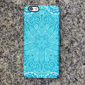 Teal Green Floral iPhone 6 iPhone 6 plus Case Tribal iPhone 5S 5 iPhone 5C iPhone 4S/4 Case Samsung Galaxy S6 edge S6 S5 S4 Note 3 Case 050
