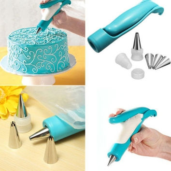 Useful Fondant Cake Sugar Craft Decorating Set Pen & Pastry Icing Piping Bag & Nozzle Tips = 1651244932