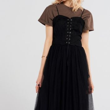 Aimee Lace-up Meshed Dress Discover the latest fashion trends online at storets.com