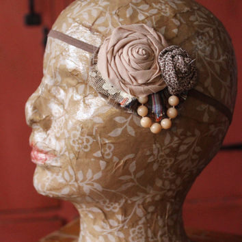 Flapper Girl Flannel & Floral Vintage Lace Headband 1920s Great Gatsby -Ready to Ship