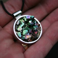 Campfire in the Forest, Iridescent Bismuth Crystal Pendant Unique Bezel Jewelry
