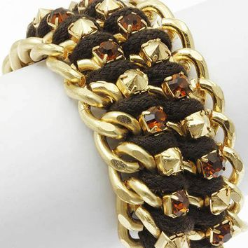 Layered Chunky Chain Crystal Stone Bracelet 1953