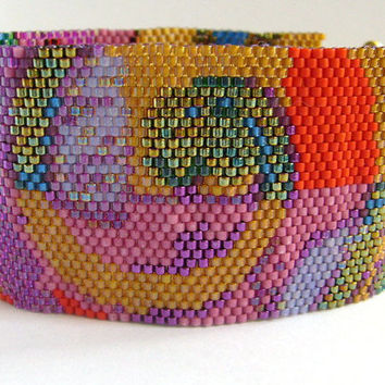 Colorful Peyote Cuff Bracelet with Multicoloured Arabesques