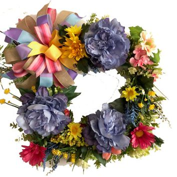 Floral Wreath | Square Floral Wreath | Summer Wreath | Farmhouse Decor | Front Door Wreath | Spring Wreath | Party Decor | Bridal Show