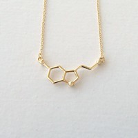 Serotonin Molecule Necklace - Gold & Silver - Science DNA Pendant Necklace for Happiness and Well-being