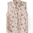 Dogs Print Chiffon Sleeveless Blouse
