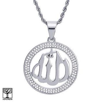 """Jewelry Kay style Men's Stainless Steel Allah Sign Medallion Pendant 24"""" Chain Necklace SCP 885 S"""