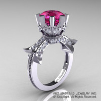Modern Vintage 14K White Gold 3.0 Ct Pink Sapphire  Diamond Solitaire Engagement Ring R253-14KWGDPS