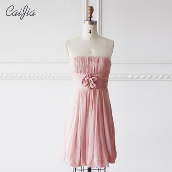 Caijia Sweet Pink Pleated Strapless Bridesmaid Dress With Flower