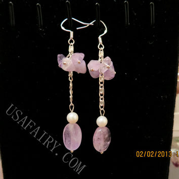 Amethyst Earrings Sterling Silver Earrings  February Birthstone  Amethyst Dangle Earrings  Stone Tassel Earrings.  Amethyst Jewelry